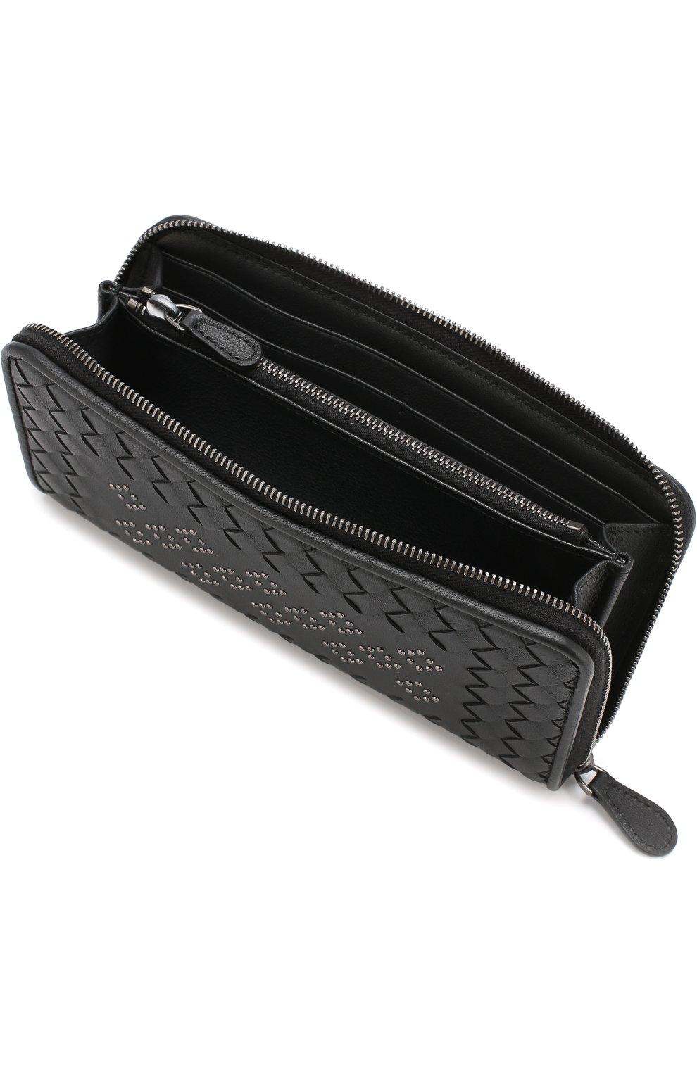 Кожаный кошелек на молнии с плетением intrecciato Bottega Veneta черного цвета | Фото №3