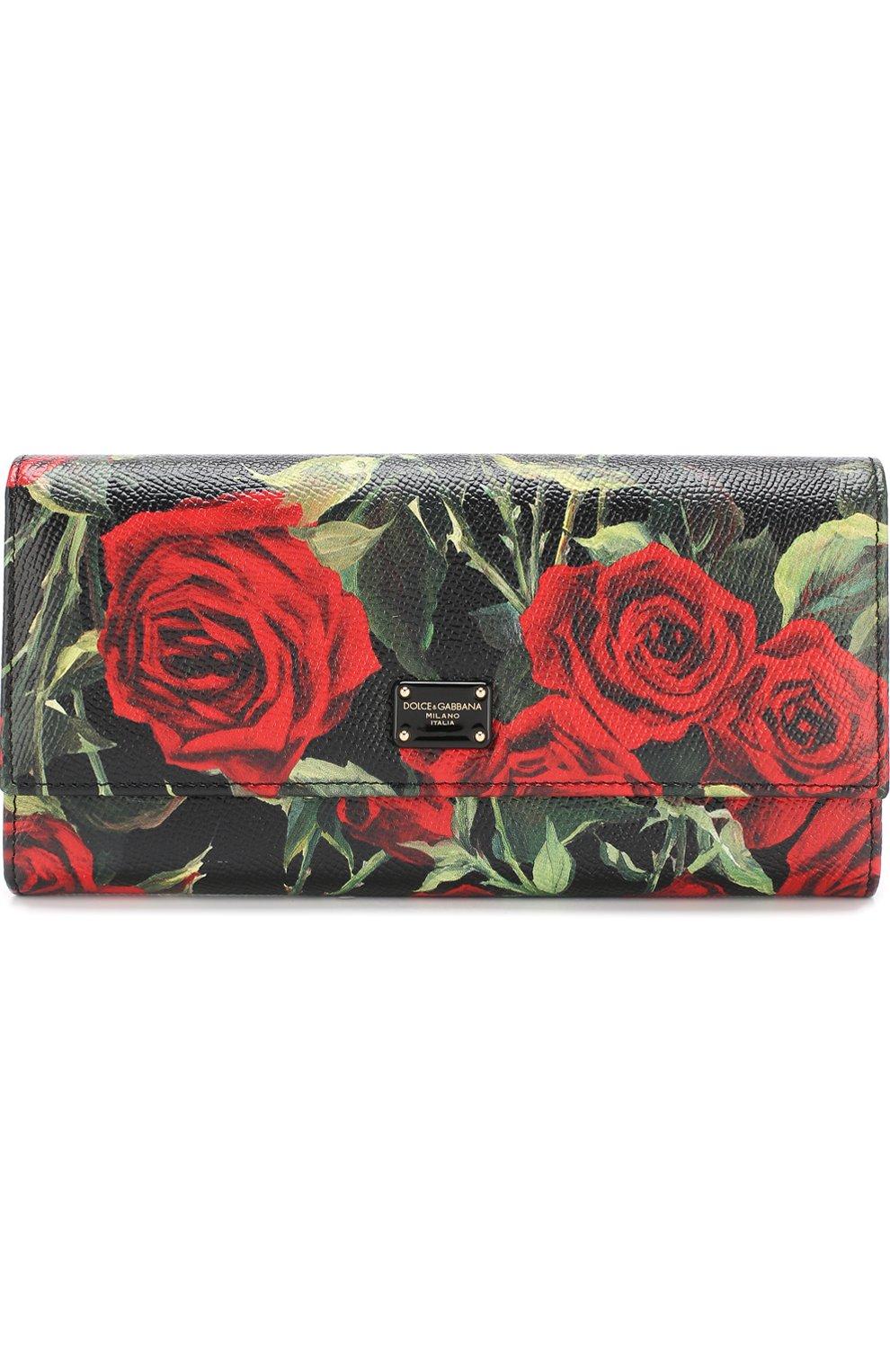 Кожаный кошелек с клапаном и цветочным принтом | Фото №1