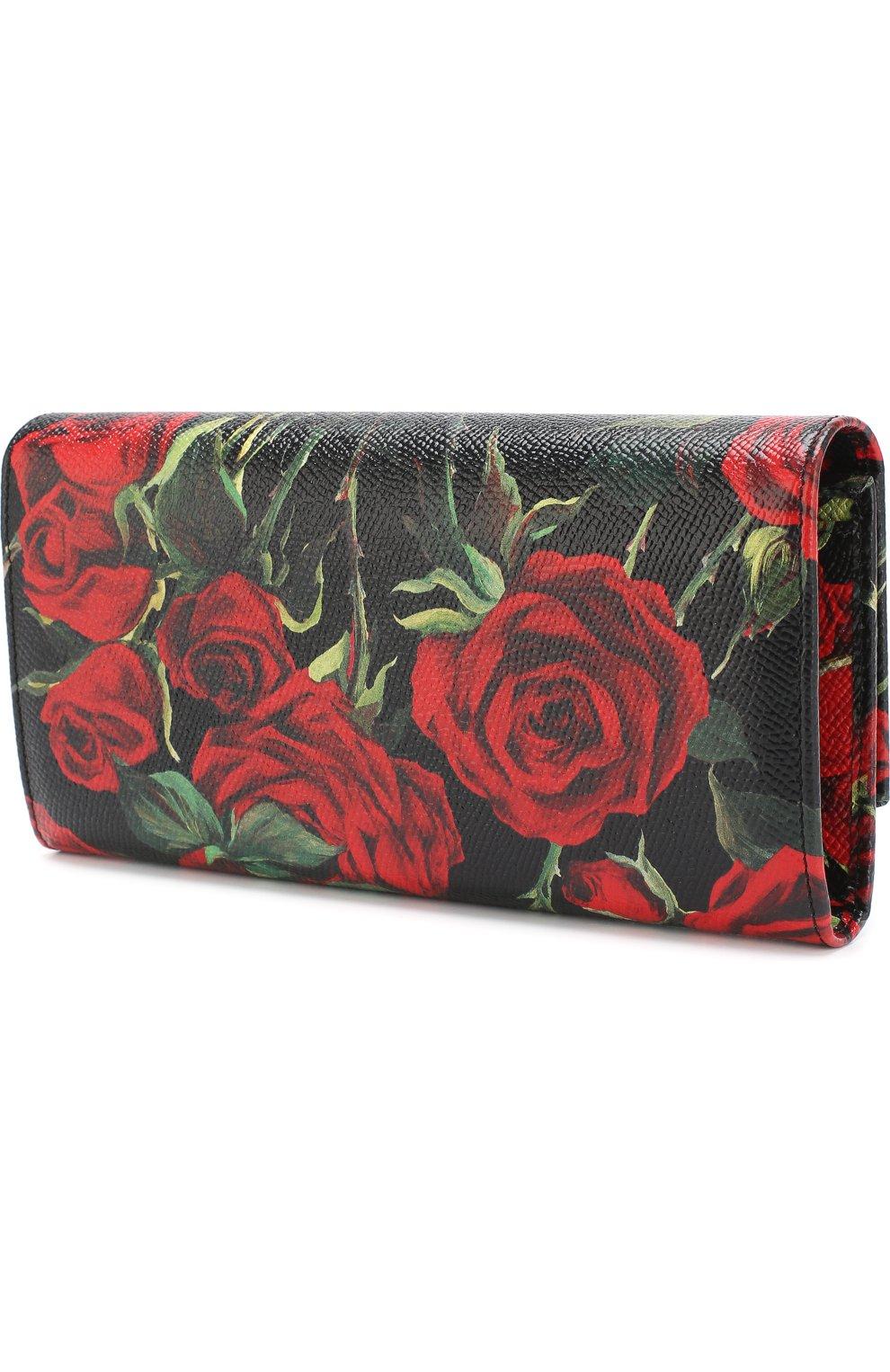 Кожаный кошелек с клапаном и цветочным принтом | Фото №2