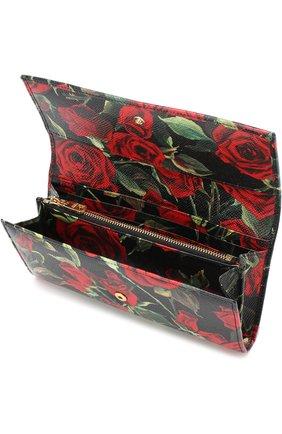 Кожаный кошелек с клапаном и цветочным принтом | Фото №3