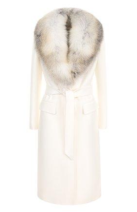 Шерстяное пальто с поясом и меховым воротником | Фото №1