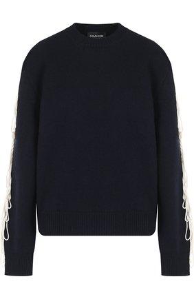 Шерстяной пуловер с контрастной отделкой CALVIN KLEIN 205W39NYC темно-синий | Фото №1