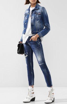 Джинсовая куртка с потертостями Dsquared2 синяя | Фото №1