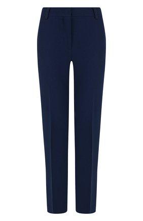 Укороченные брюки из смеси хлопка и шелка со стрелками Emilio Pucci темно-синие | Фото №1