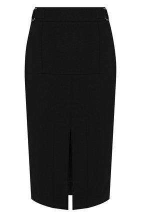 Однотонная шерстяная юбка с разрезом | Фото №1