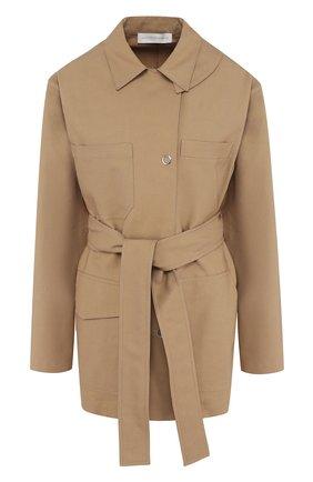 Однотонное пальто из смеси хлопка и вискозы с поясом Victoria Beckham бежевого цвета | Фото №1
