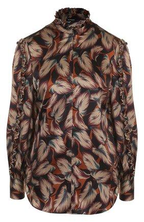 Шелковая блуза с принтом и воротником-стойкой | Фото №1