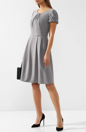 Однотонное шерстяное мини-платье Giorgio Armani темно-серое | Фото №1