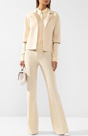 Расклешенные шерстяные брюки со стрелками Michael Kors Collection бежевые | Фото №1