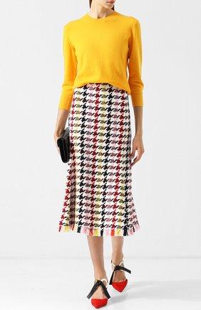Вязаная юбка-миди с бахромой Oscar de la Renta разноцветная | Фото №1