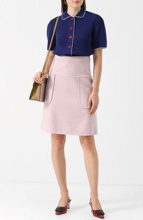 Однотонная мини-юбка из смеси шерсти и кашемира Marni светло-розовая | Фото №1