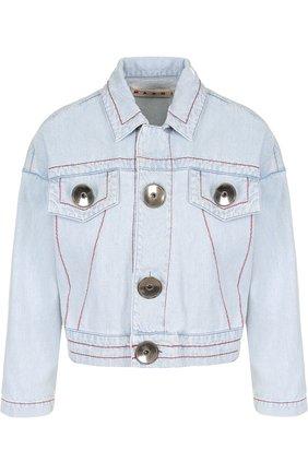 Джинсовая куртка с контрастной прострочкой Marni голубая | Фото №1