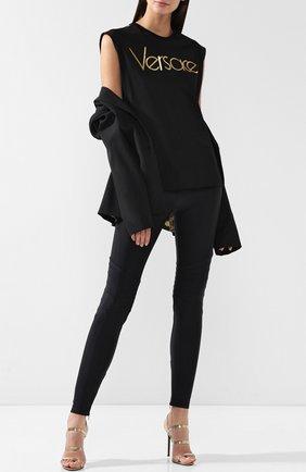 Леггинсы на молнии с эластичным поясом Versace черные | Фото №1