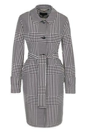 Пальто с поясом и принтом Escada черно-белого цвета   Фото №1