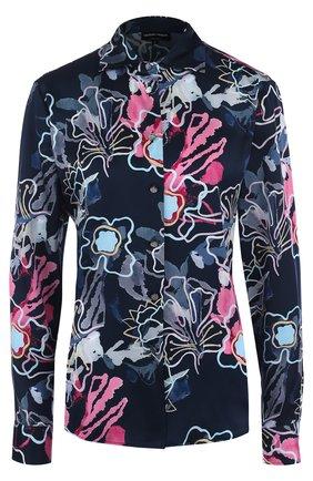 Женская приталенная шелковая блуза с принтом Giorgio Armani, цвет разноцветный, арт. 8WHCCZ10/TZ156 в ЦУМ | Фото №1
