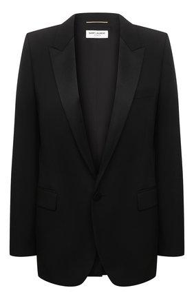 Женский шерстяной жакет на одной пуговице SAINT LAURENT черного цвета, арт. 517741/Y399W | Фото 1