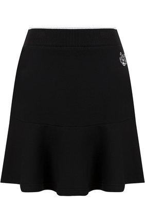 Хлопковая мини-юбка с эластичным поясом Kenzo черная | Фото №1