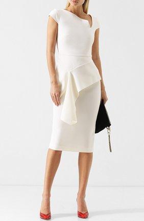 Приталенное шерстяное платье-миди с оборкой Roland Mouret светло-розовое | Фото №1