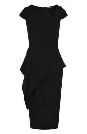 Приталенное шерстяное платье-миди с оборкой   Фото №1