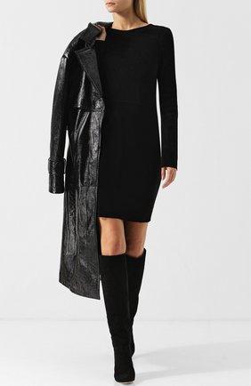 Приталенное замшевое мини-платье с круглым вырезом DROMe черное | Фото №1