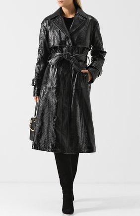 Кожаное пальто с поясом и карманами DROMe черного цвета | Фото №1