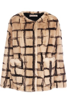 Женская шуба из меха норки MARNI темно-бежевого цвета, арт. GIMN0006MU/P1912 | Фото 1