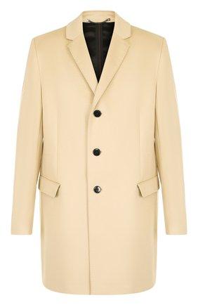 Однобортное пальто из смеси шерсти и кашемира HUGO темно-синего цвета   Фото №1