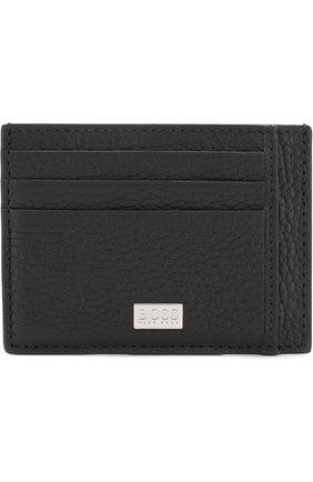 Мужской кожаный футляр для кредитных карт BOSS черного цвета, арт. 50390405 | Фото 1