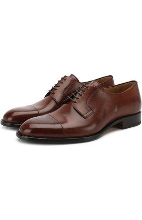Кожаные дерби на шнуровке Brioni светло-коричневые | Фото №1