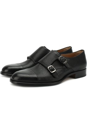 Мужские кожаные монки с двумя пряжками BRIONI черного цвета, арт. QXB90L/07733 | Фото 1