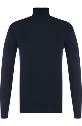 Шерстяная однотонная водолазка John Smedley темно-синий | Фото №1