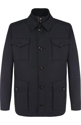 Куртка прямого кроя с подстежкой Windsor темно-синяя | Фото №1