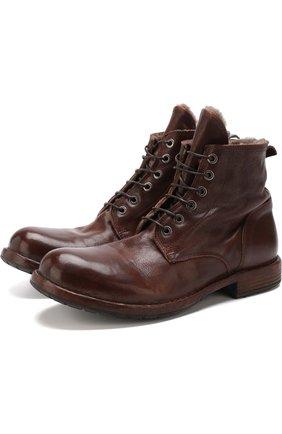 Кожаные ботинки на шнуровке с внутренней меховой отделкой Moma коричневые   Фото №1