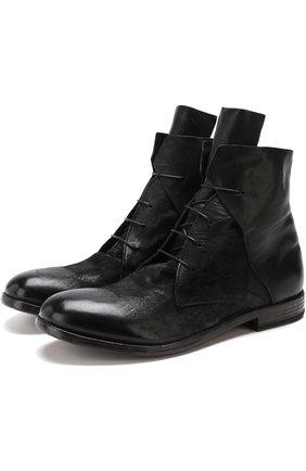 Кожаные ботинки на шнуровке Moma черные   Фото №1