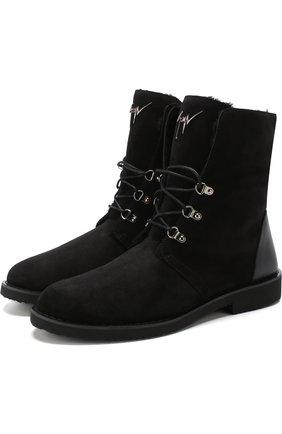 Высокие кожаные ботинки на шнуровке с внутренней меховой отделкой | Фото №1