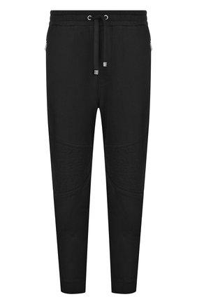 Хлопковые брюки прямого кроя с поясом на резинке Just Cavalli черные | Фото №1