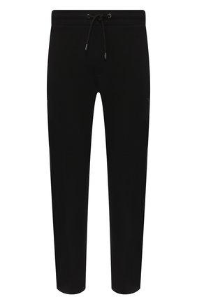 Мужские хлопковые брюки прямого кроя с поясом на резинке EMPORIO ARMANI черного цвета, арт. 8N1P87/1J07Z | Фото 1 (Длина (брюки, джинсы): Стандартные; Материал внешний: Хлопок; Мужское Кросс-КТ: Брюки-трикотаж; Случай: Повседневный)