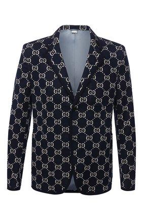 Мужской однобортный хлопковый пиджак с принтом GUCCI синего цвета, арт. 521889/Z372F | Фото 1