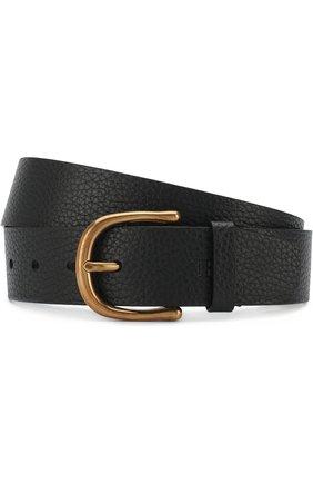 Мужской кожаный ремень с металлической пряжкой TOM FORD черного цвета, арт. TB210M-CM1 | Фото 1