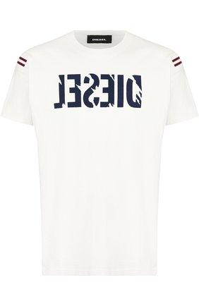Хлопковая футболка с принтом Diesel белая | Фото №1