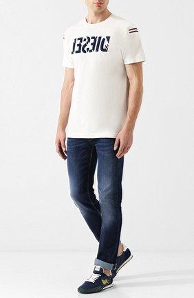 Хлопковая футболка с принтом Diesel белая | Фото №2