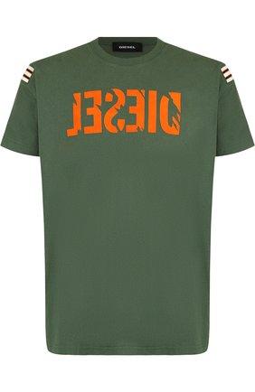 Хлопковая футболка с принтом Diesel зеленая   Фото №1