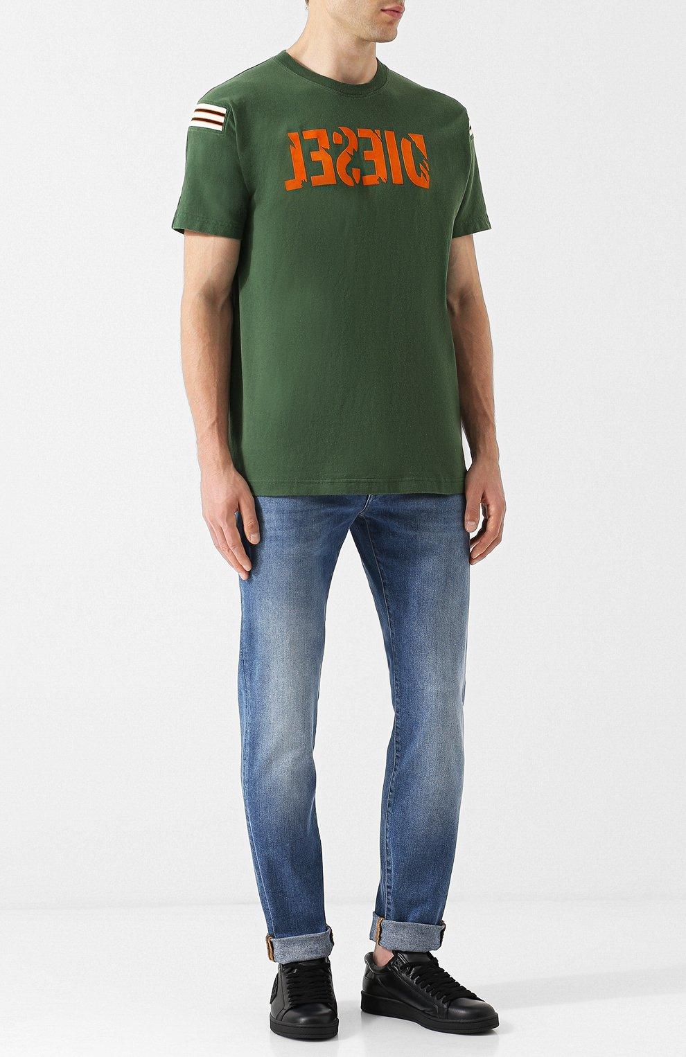 Хлопковая футболка с принтом Diesel зеленая   Фото №2