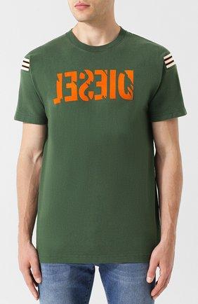 Хлопковая футболка с принтом Diesel зеленая   Фото №3