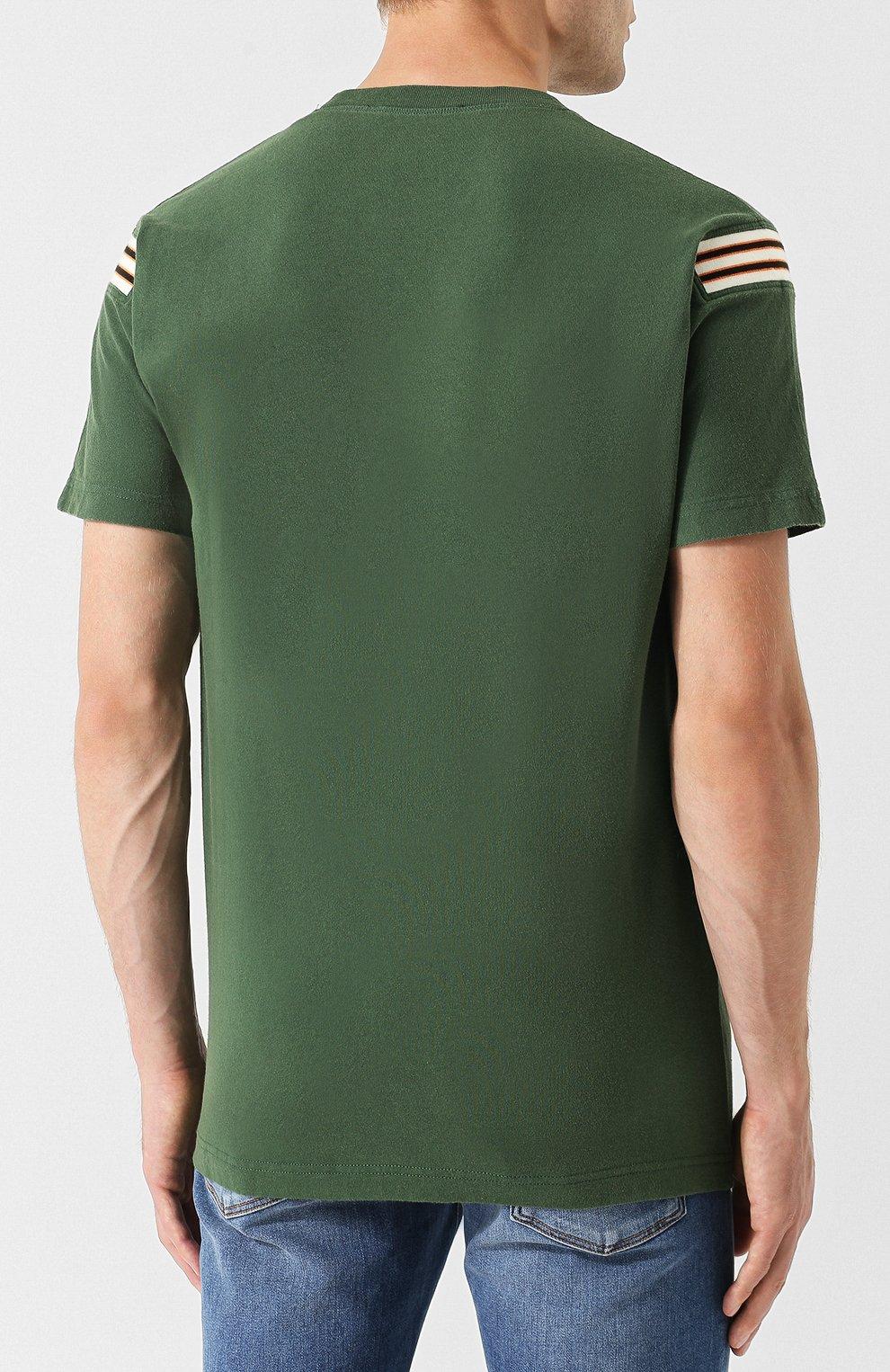 Хлопковая футболка с принтом Diesel зеленая   Фото №4