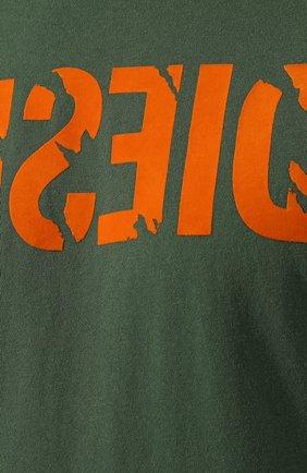 Хлопковая футболка с принтом Diesel зеленая   Фото №5