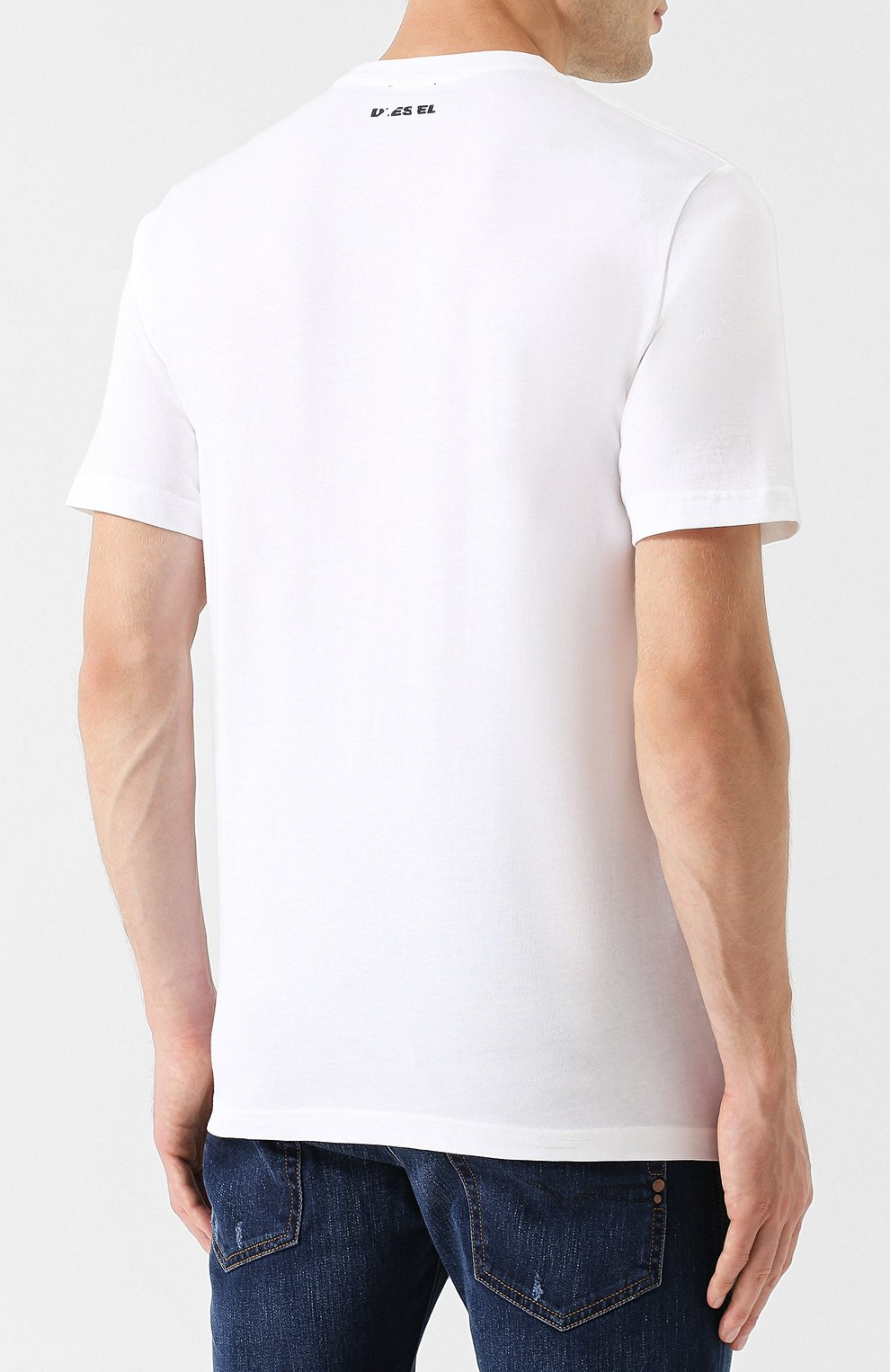 Хлопковая футболка с принтом Diesel белая | Фото №4