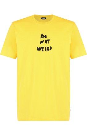 Хлопковая футболка с круглым вырезом Diesel желтая   Фото №1