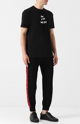 Хлопковая футболка с круглым вырезом Diesel черная   Фото №2
