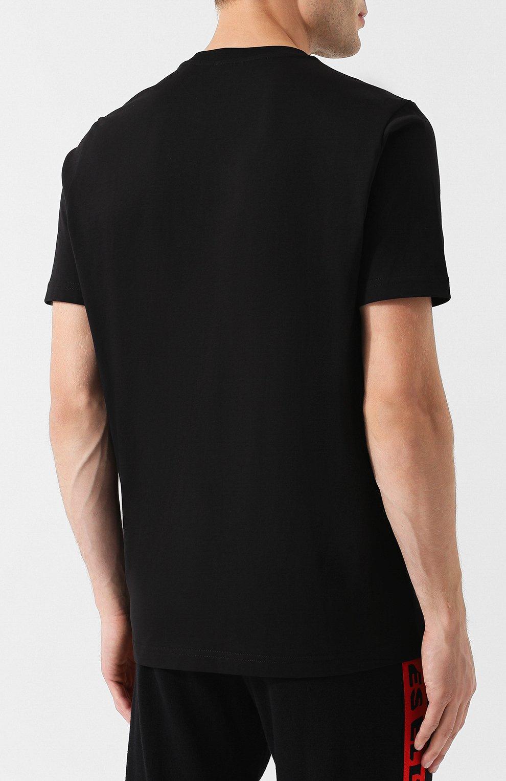Хлопковая футболка с круглым вырезом Diesel черная   Фото №4